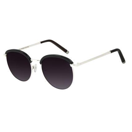 Óculos de Sol Feminino Chilli Beans Banhado a Ouro Redondo Prata 2007