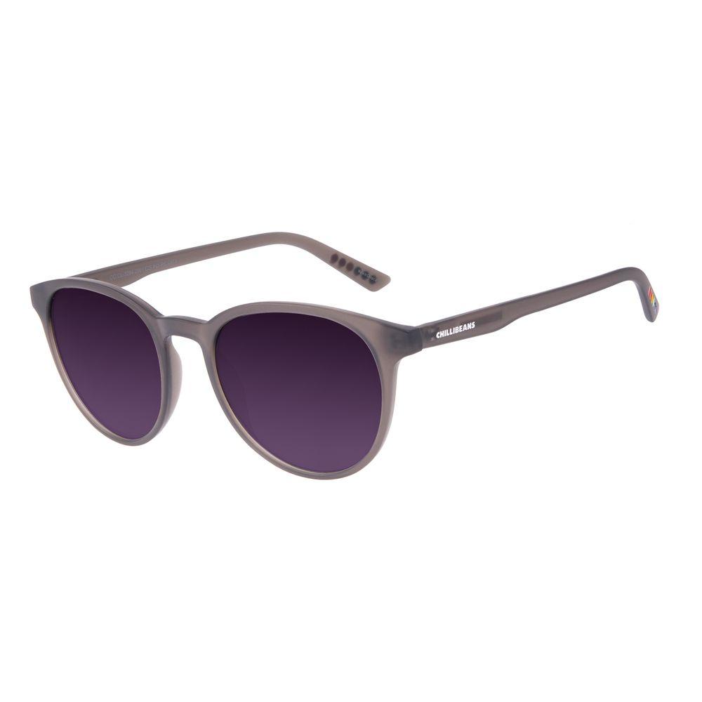 Óculos de Sol Unissex Chilli Beans True Colors Redondo Cristal Preto OC.CL.3294-2001