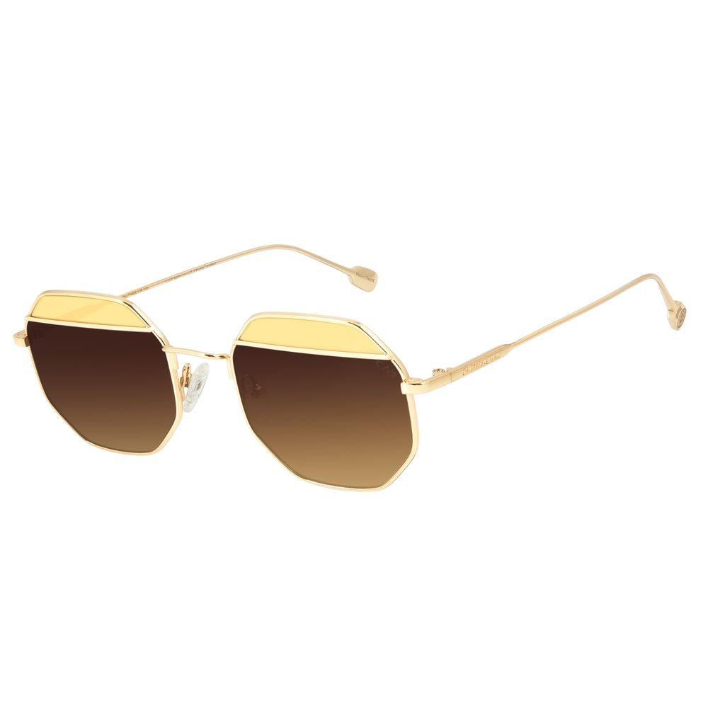 Óculos de Sol Feminino Chilli Beans Octagonal Metal Fashion Degradê Marrom OC.MT.3125-5721