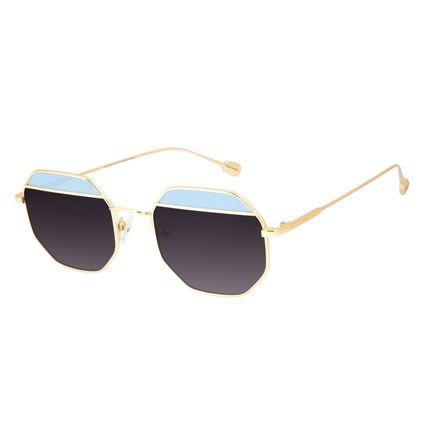 Óculos de Sol Feminino Chilli Beans Octagonal Metal Fashion Dourado OC.MT.3125-2021