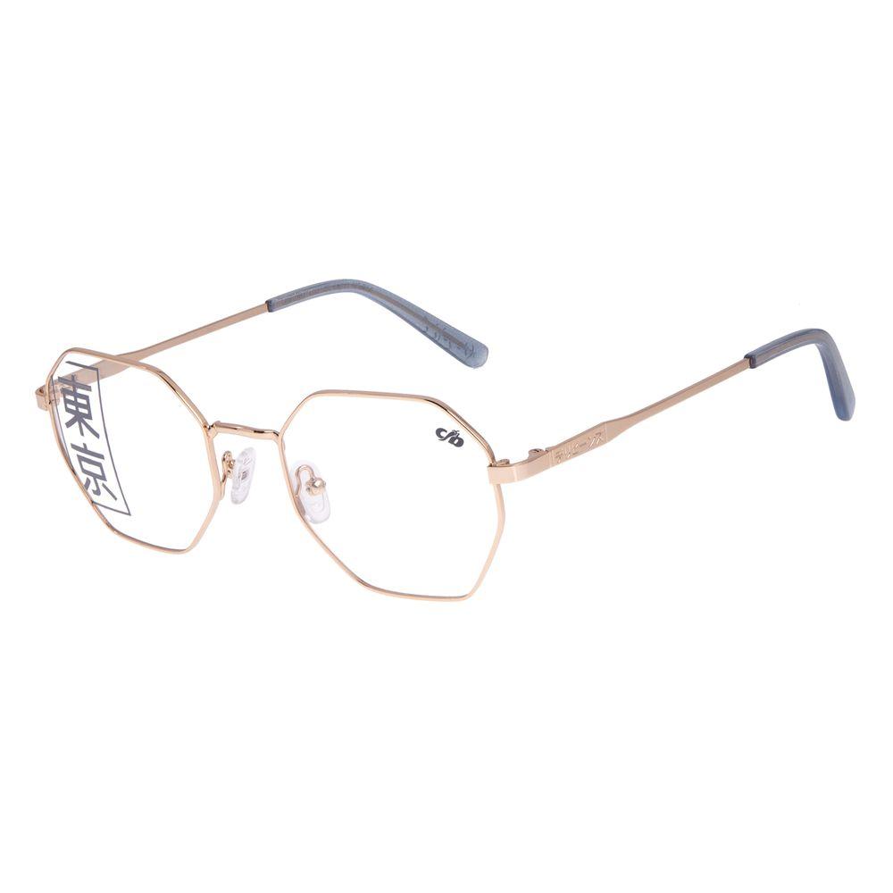 Armação Para Óculos de Grau Feminino Tokyo Kaomoji Hexagonal Dourado LV.MT.0441-2121
