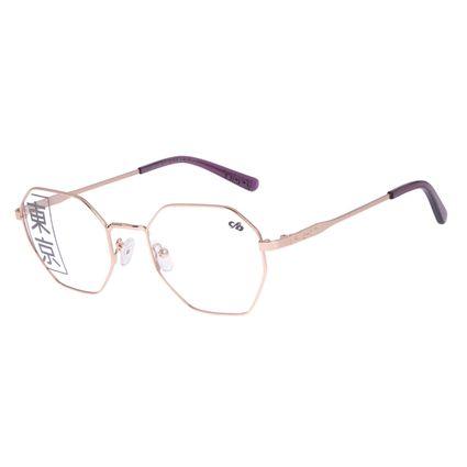 Armação Para Óculos de Grau Feminino Tokyo Kaomoji Hexagonal Rosé LV.MT.0441-9595
