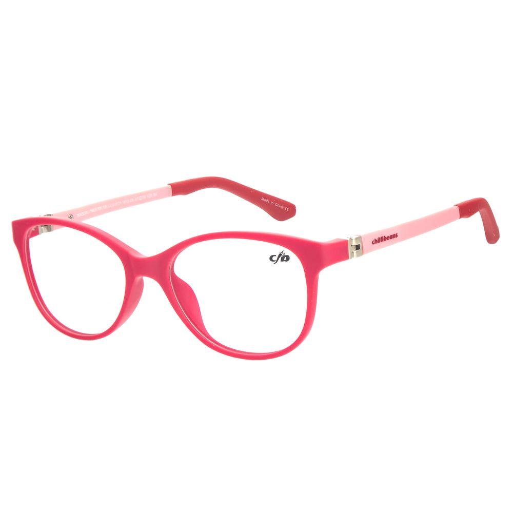 Armação Para Óculos de Grau Infantil Feminino Chilli Beans Quadrado Rosa LV.IJ.0171-1613
