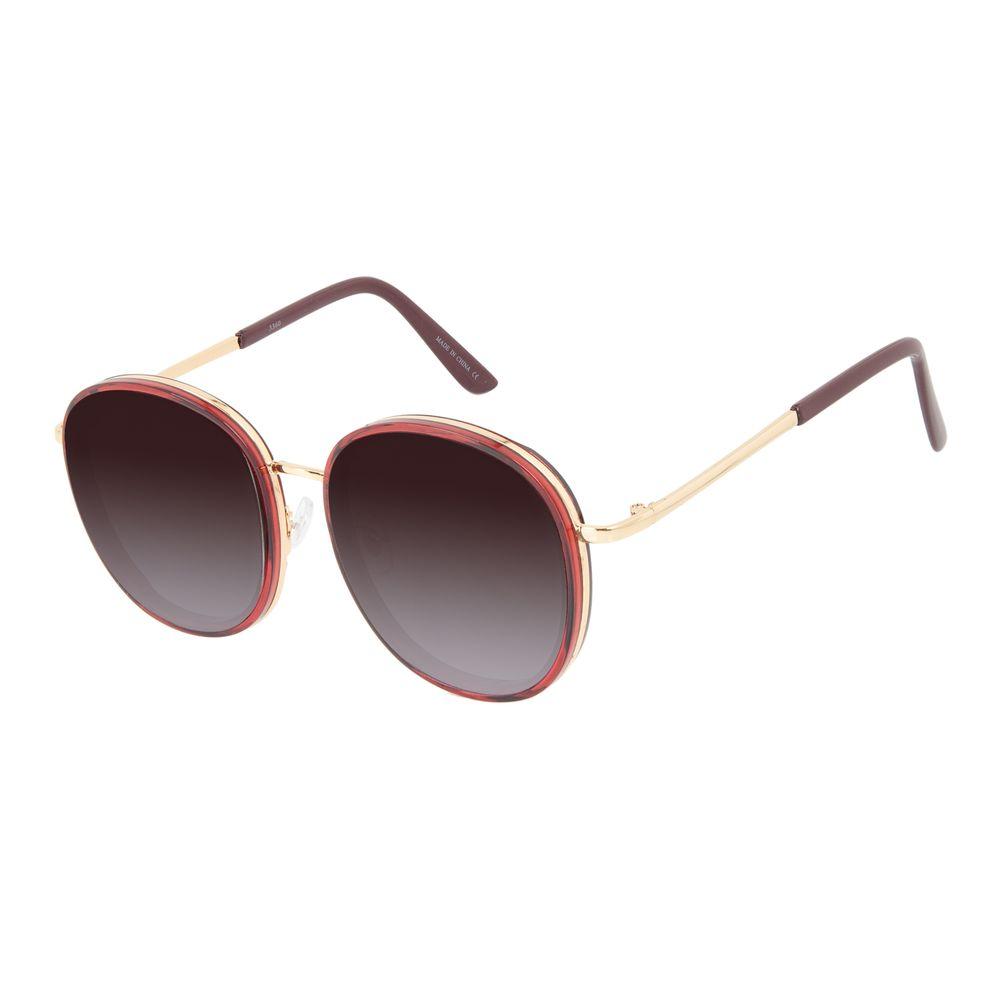 Óculos de Sol Feminino Chilli Beans Casual Redondo Vermelho OC.CL.3287-5716