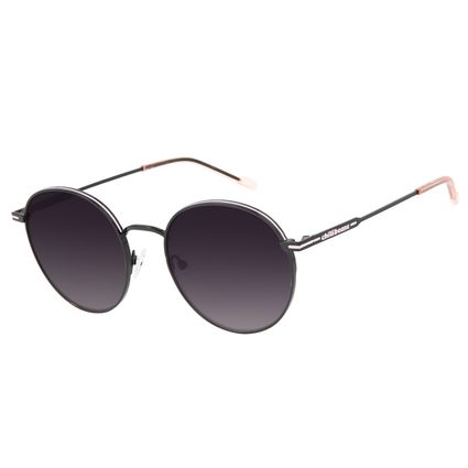 Óculos de Sol Feminino Chilli Beans Metal Brilho Redondo Preto OC.MT.3129-2001