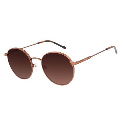 Óculos de Sol Feminino Chilli Beans Metal Brilho Redondo Degradê Marrom OC.MT.3129-5702