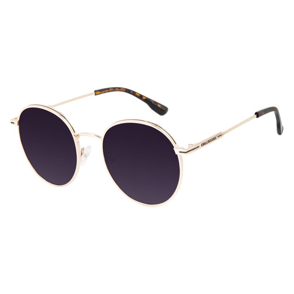 Óculos de Sol Feminino Chilli Beans Metal Brilho Redondo Dourado OC.MT.3129-2021