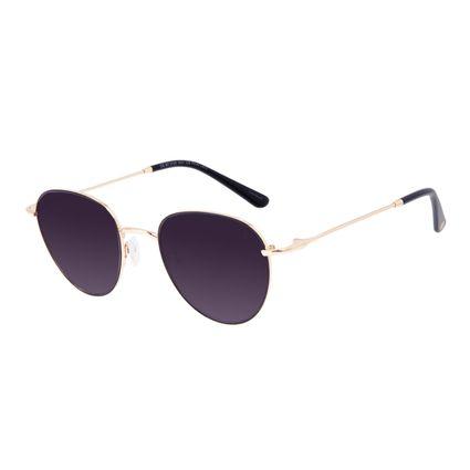Óculos de Sol Feminino Chilli Beans Redondo Casual Metal Brilho Redondo Dourado OC.MT.3128-2021