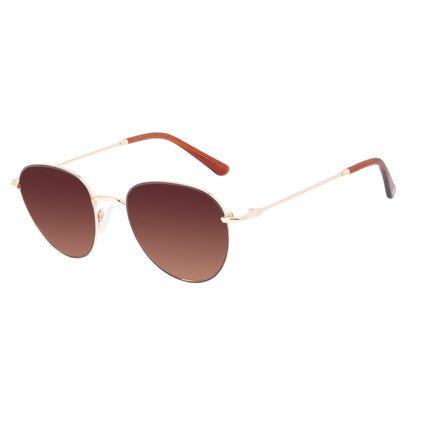 Óculos de Sol Feminino Chilli Beans Redondo Casual Metal Brilho Redondo Degradê Marrom OC.MT.3128-5721