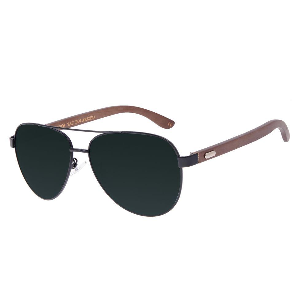 Óculos de Sol Masculino Chilli Beans Bamboo Aviador Polarizado Verde OC.MT.3099-1501