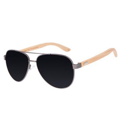 Óculos de Sol Masculino Chilli Beans Bamboo Aviador Polarizado Ônix OC.MT.3099-0122