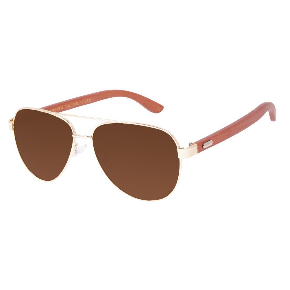 Óculos de Sol Masculino Chilli Beans Bamboo Aviador Polarizado Marrom OC.MT.3099-0221
