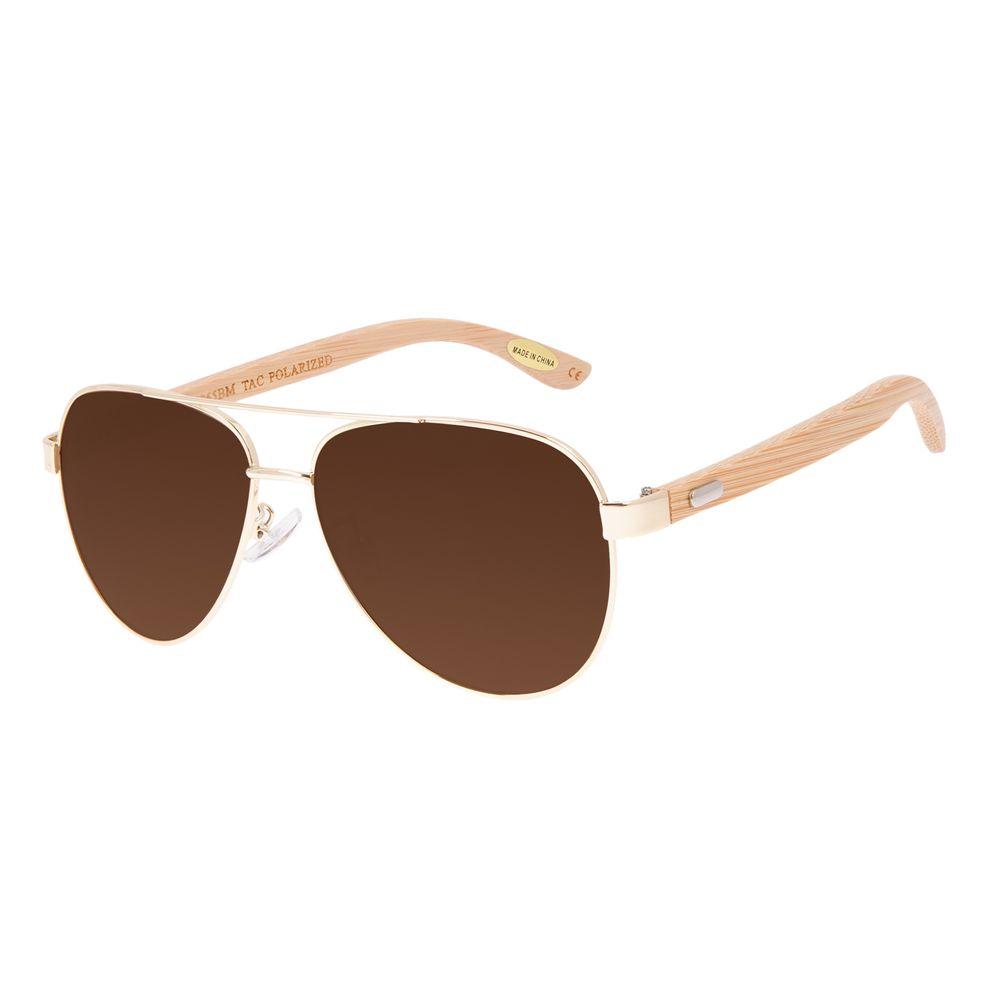 Óculos de Sol Masculino Chilli Beans Bamboo Aviador Polarizado Dourado OC.MT.3099-8821