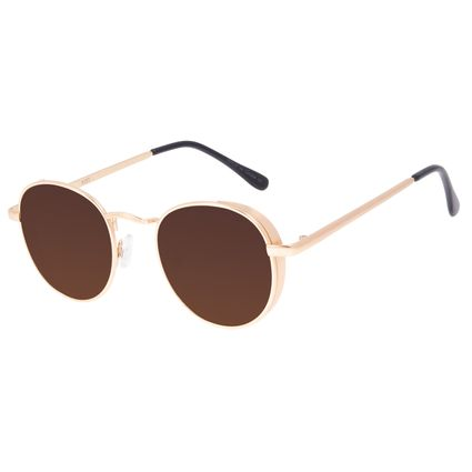 Óculos de Sol Unissex Chilli Beans Redondo Flap Dourado OC.MT.3088-0221