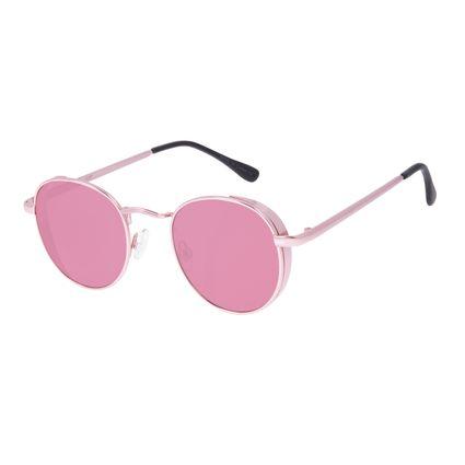 Óculos de Sol Unissex Chilli Beans Redondo Flap Rosa OC.MT.3088-8181