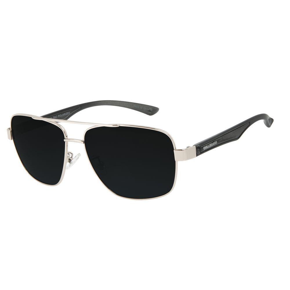 Óculos de Sol Masculino Chilli Beans Executivo Prata Polarizado OC.MT.3091-0107