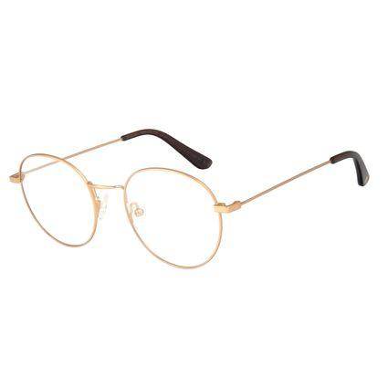 Armação Para Óculos de Grau Feminino Chilli Beans Redondo Metal Fosco Dourado LV.MT.0449-2121