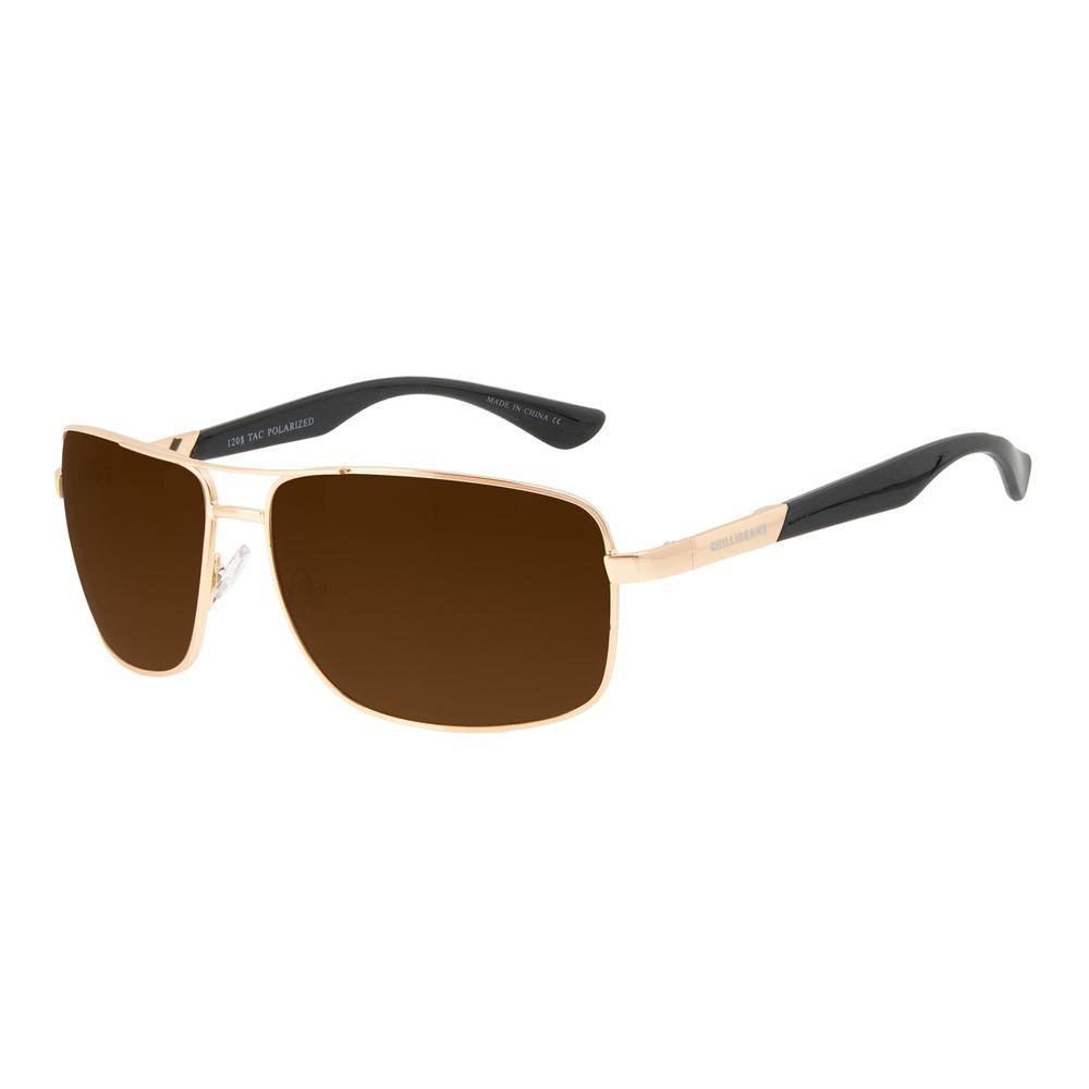 Óculos de Sol Masculino Chilli Beans Executivo Dourado Polarizado OC.MT.3092-0221