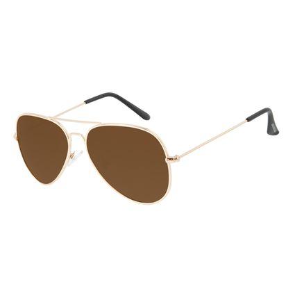 Óculos de Sol Masculino Chilli Beans Aviador Dourado Polarizado OC.MT.3096-0221