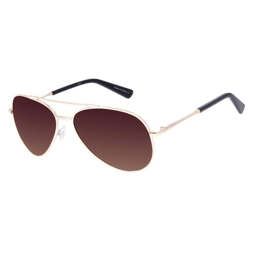 Óculos de Sol Unissex Chilli Beans Aviador Metal Brilho Degradê Marrom OC.MT.3097-5721
