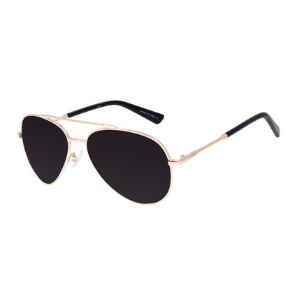Óculos de Sol Unissex Chilli Beans Aviador Metal Brilho Dourado OC.MT.3097-0121