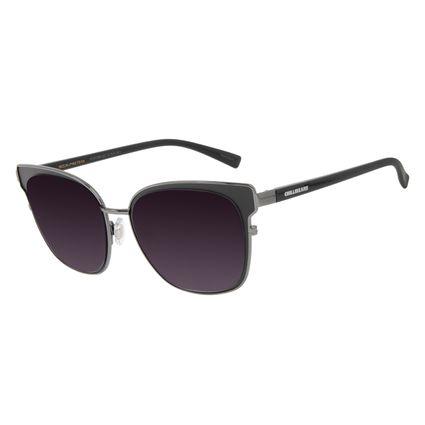 Óculos de Sol Feminino Chilli Beans Quadrado Metal Brilho Ônix OC.MT.3008-2022