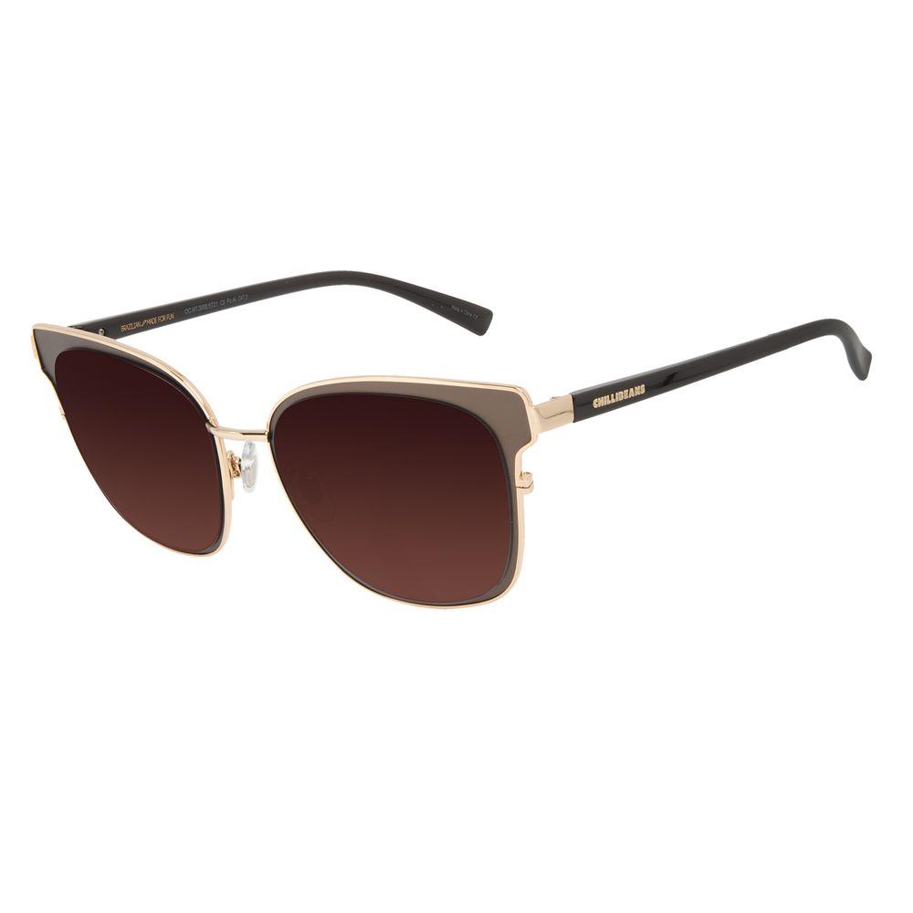 Óculos de Sol Feminino Chilli Beans Quadrado Metal Brilho Dourado OC.MT.3008-5721