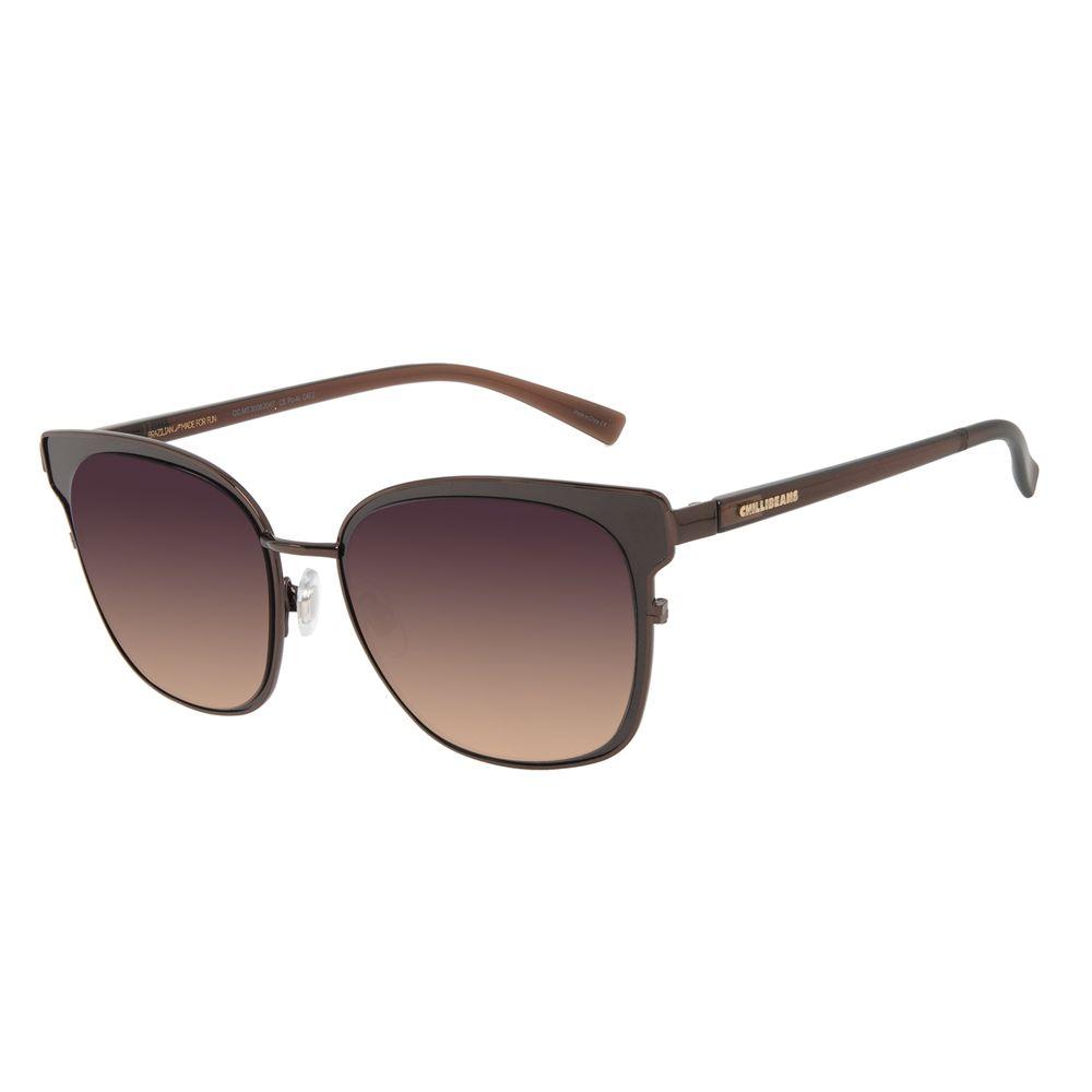 Óculos de Sol Feminino Chilli Beans Quadrado Metal Brilho Marrom Escuro OC.MT.3008-2047