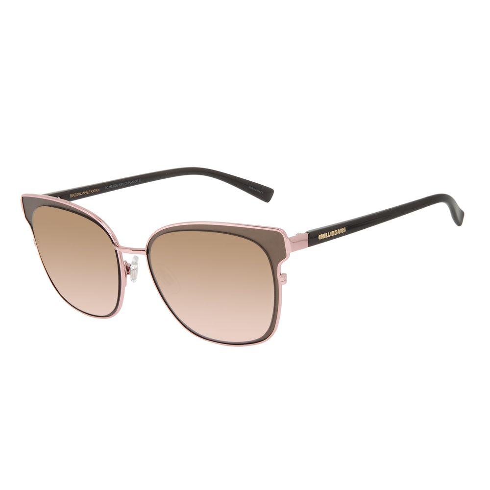 Óculos de Sol Feminino Chilli Beans Quadrado Metal Brilho Rosé OC.MT.3008-2095