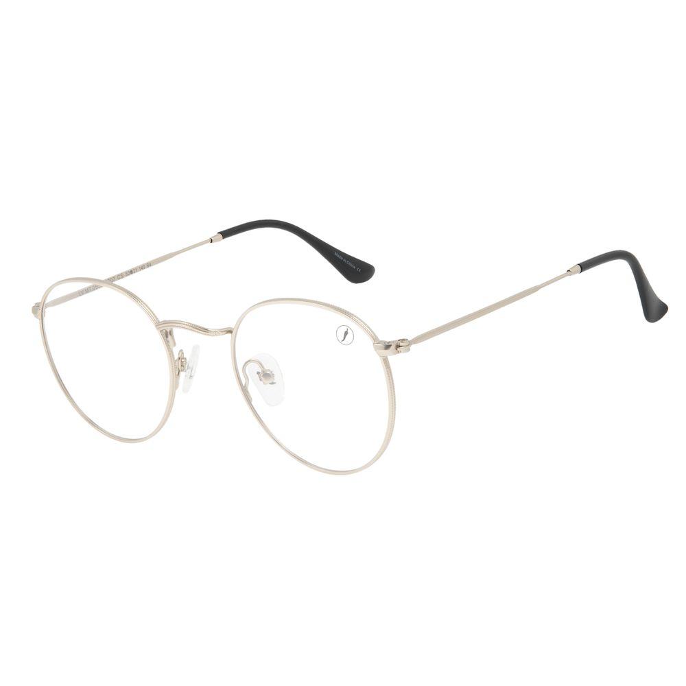 Armação Para Óculos de Grau Unissex Chilli Beans Redondo Fosco Prata LV.MT.0503-0707