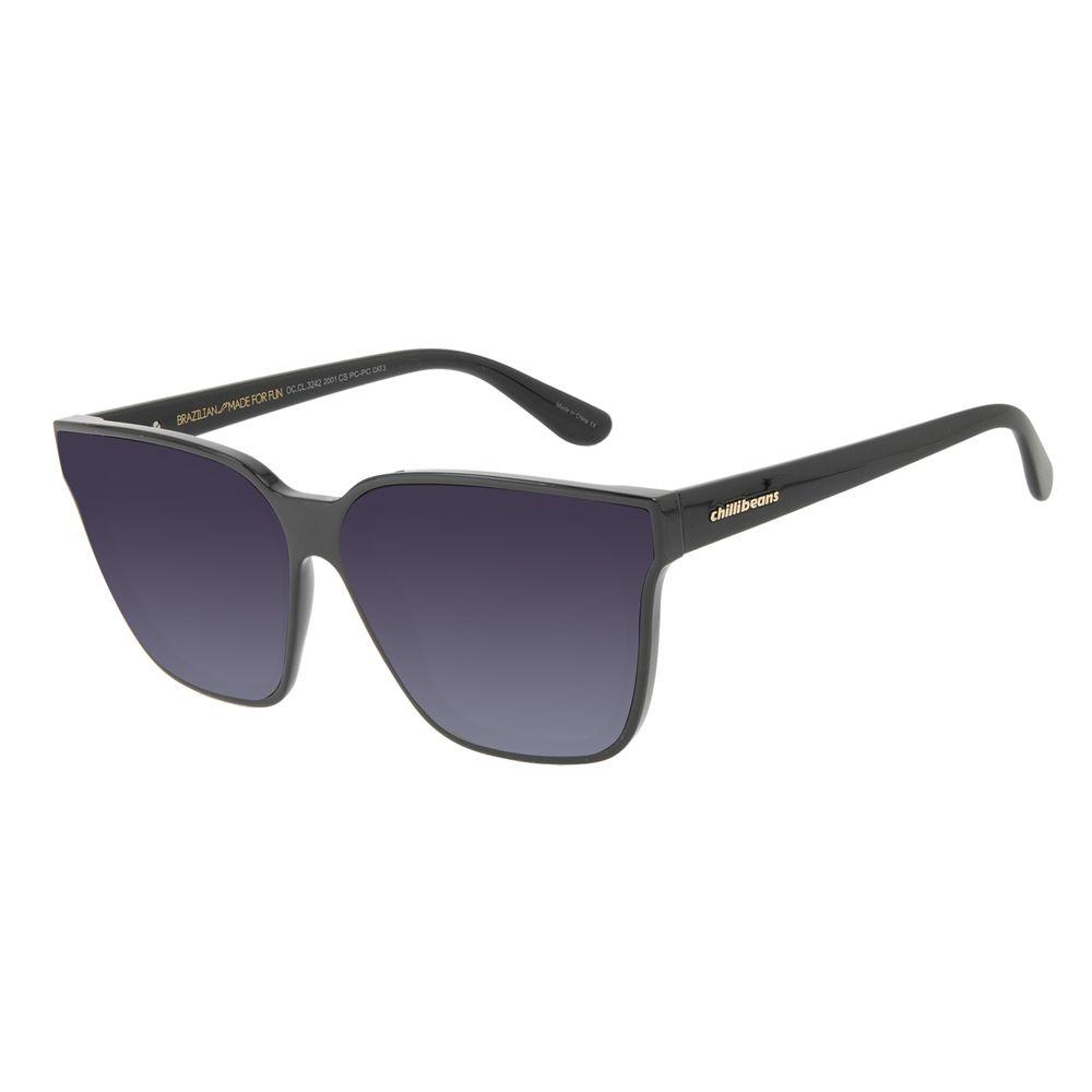 Óculos de Sol Feminino Chilli Beans Quadrado Cristal Preto OC.CL.3242-2001