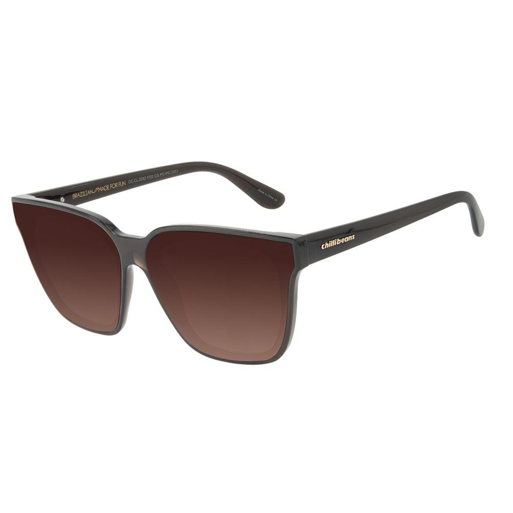 Óculos de Sol Feminino Chilli Beans Quadrado Cristal Degradê Marrom OC.CL.3242-5702