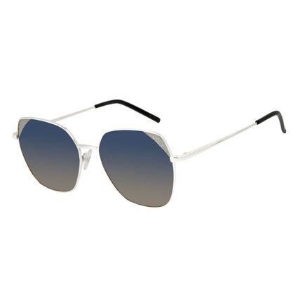 Óculos de Sol Feminino Chilli Beans Quadrado Brilho Prata OC.MT.3130-8307