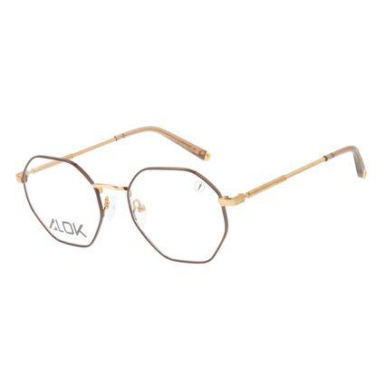 Armação Para Óculos de Grau Unissex Alok Tech In Style Octogonal Dourado LV.MT.0496-0221