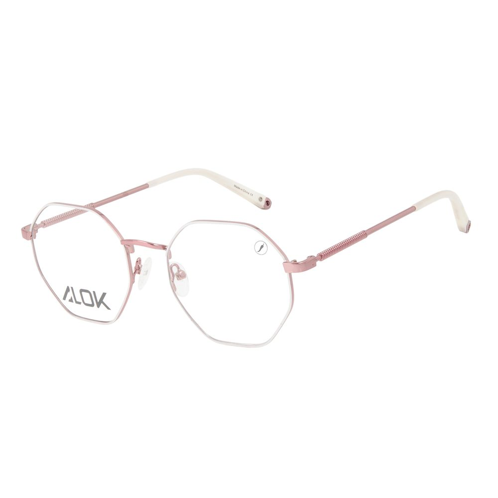 Armação Para Óculos de Grau Unissex Alok Tech In Style Octogonal Rosé LV.MT.0496-9595