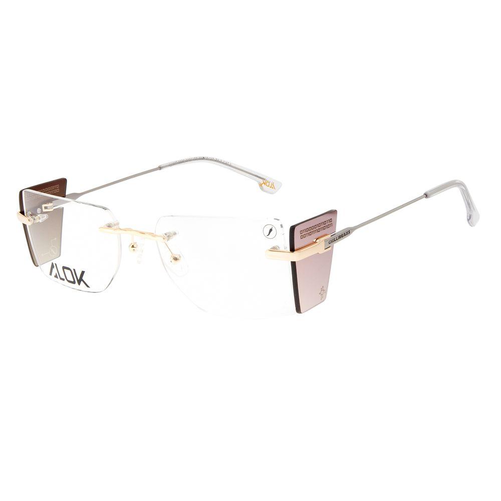 Armação Para Óculos de Grau Unissex Alok Tech In Style 3 Peças Flap Dourado LV.MT.0500-2121