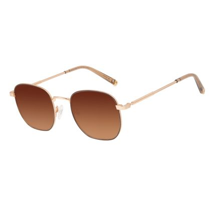 Óculos de Sol Unissex Alok Tech in Style Cabos Redondo Dourado OC.CL.3302-1121