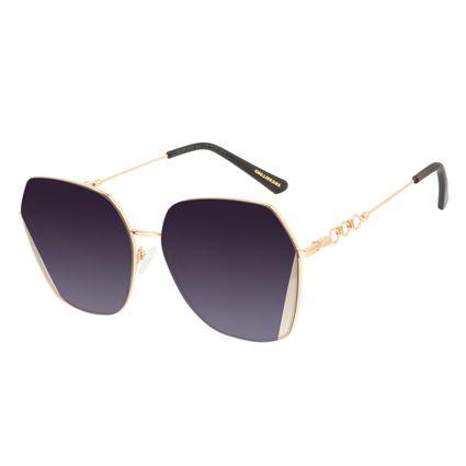 Óculos de Sol Feminino Alok Tech in Style Quadrado Dourado Banhado a Ouro OC.MT.3107-2021