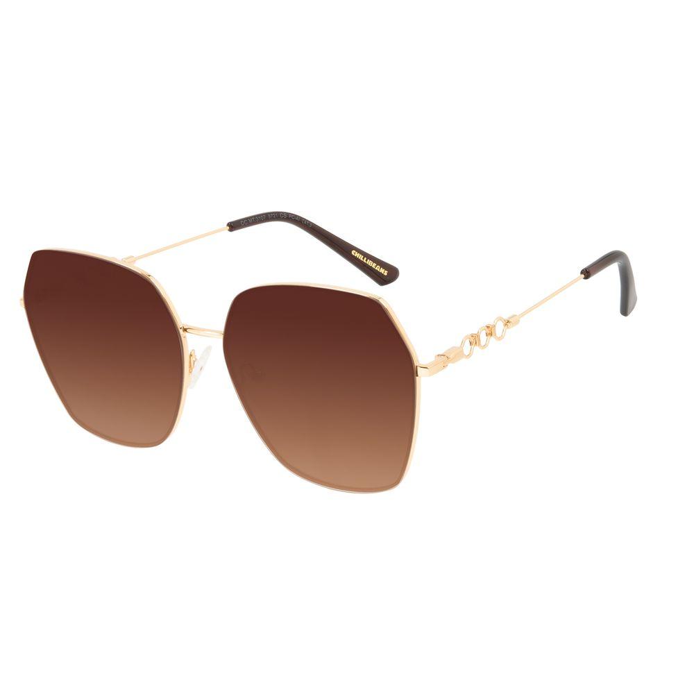 Óculos de Sol Feminino Alok Tech in Style Quadrado Degradê Marrom Banhado a Ouro OC.MT.3107-5721