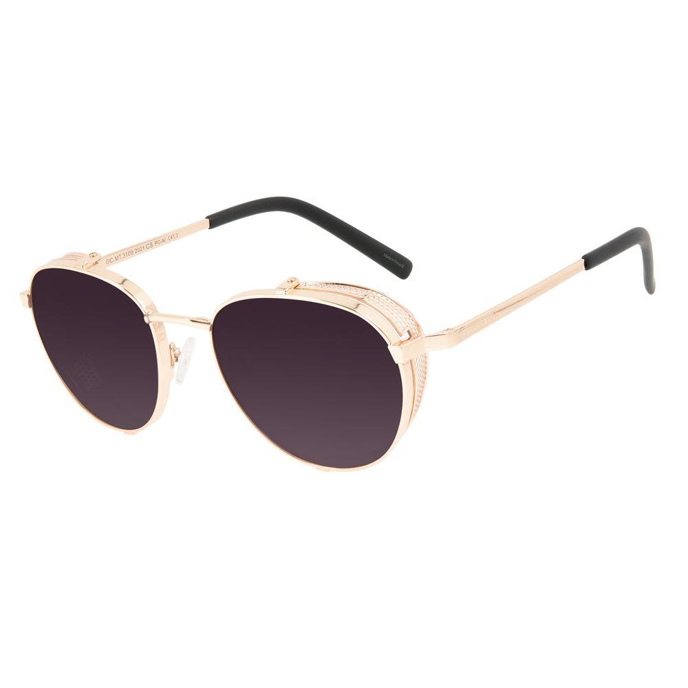 Óculos de Sol Unissex Alok Tech In Style Redondo Dourado OC.MT.3109-2021