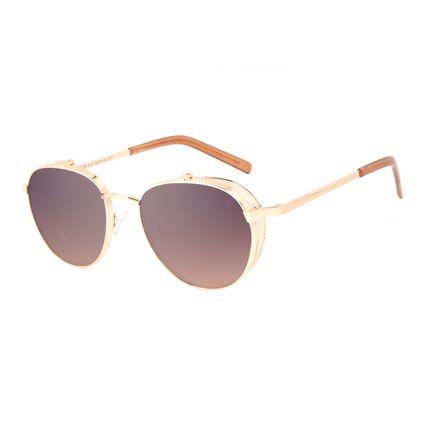Óculos de Sol Unissex Alok Tech In Style Redondo Degradê Marrom OC.MT.3109-5721
