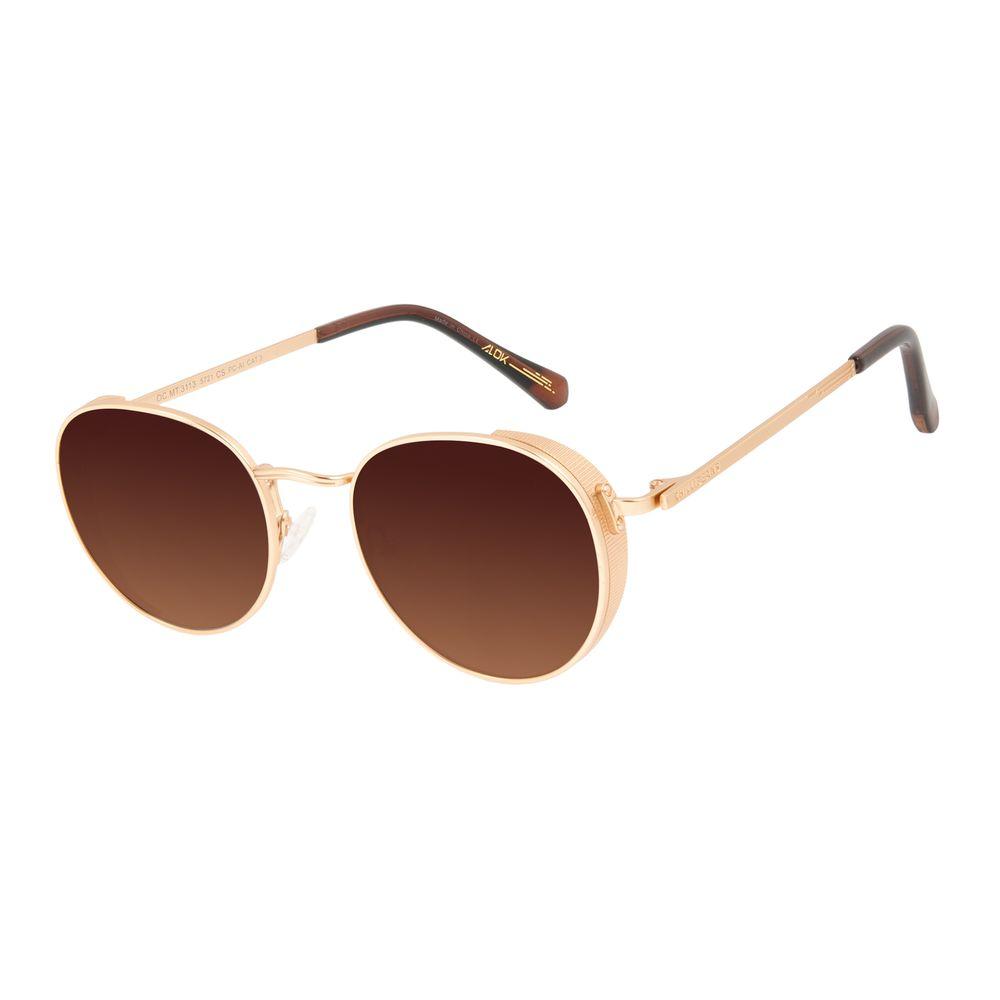 Óculos de Sol Unissex Alok Tech In Style Flap Degradê Marrom Banhado a Ouro OC.MT.3113-5721
