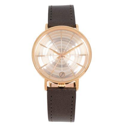 Relógio Analógico Feminino Infinity Couro Shine Dourado RE.CR.0468-2121