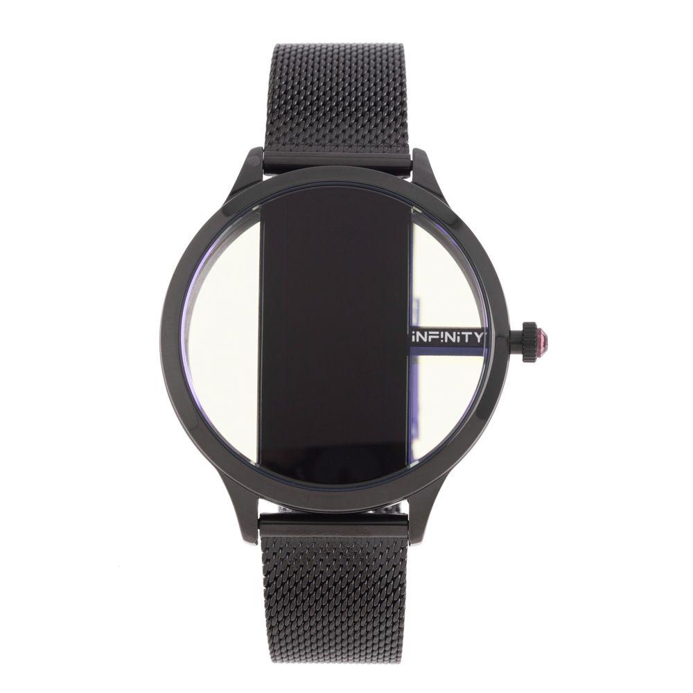 Relógio Digital Feminino Infinity Translúcido Metal Preto RE.MT.1173-0101
