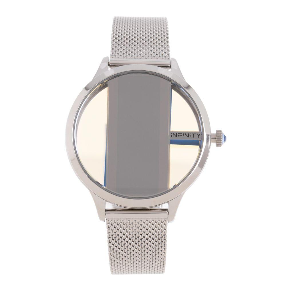 Relógio Digital Feminino Infinity Translúcido Metal Prata RE.MT.1173-0707