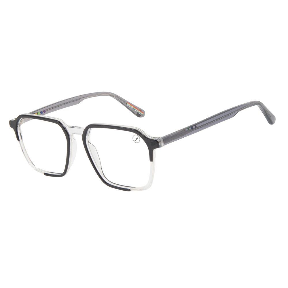 Armação Para Óculos de Grau Masculino True Colors Quadrado Cristal Cinza LV.AC.0733-0404