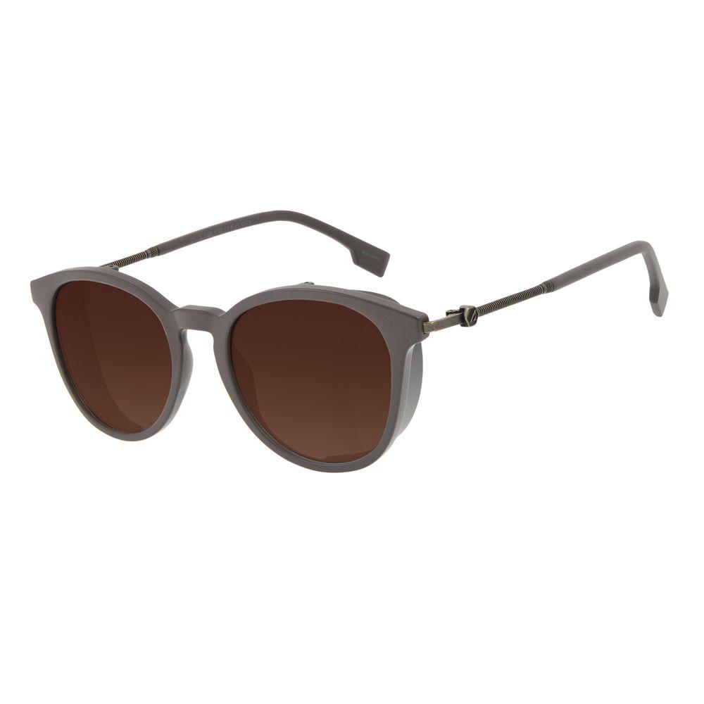 Óculos de Sol Masculino Alok Tech in Style Redondo Flap Degradê Marrom OC.CL.3304-5702