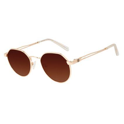 Óculos de Sol Unissex Alok Tech in Style Clássico Redondo Dourado OC.MT.3106-1121