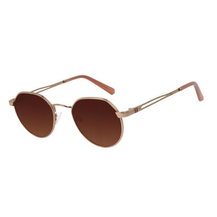 Óculos de Sol Unissex Alok Tech in Style Clássico Redondo Degradê Marrom OC.MT.3106-5702