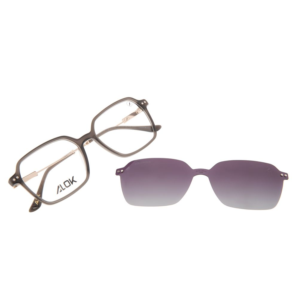 Armação Para Óculos de Grau Feminino Alok Tech In Style Multi Quadrado Polarizada Preto LV.MU.0535-2001